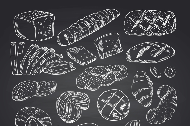 vector-hand-drawn-contoured-bakery-elements-on-black-chalkboard