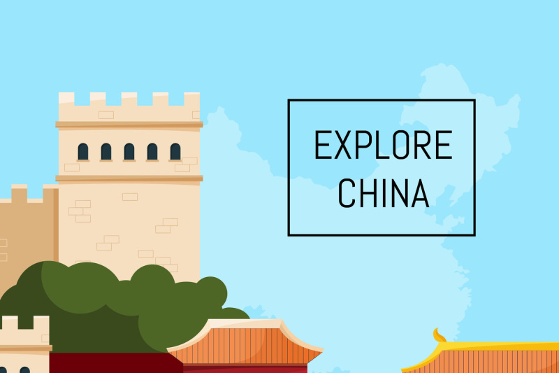 vector-flat-style-china-elements-and-sights-background-illustration