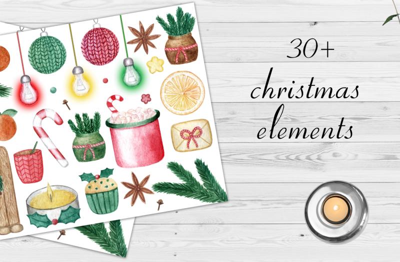 watercolor-christmas-set