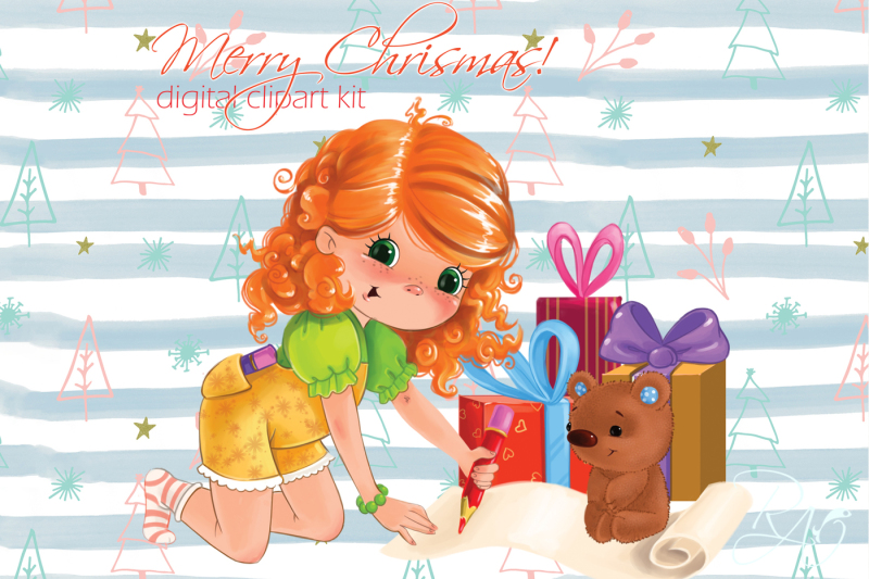 cute-girl-with-gifts-and-teddy-bear-christmas-clipart-kit