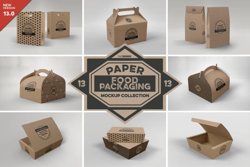 Free Vol 13: Paper Food Box Packaging Mockups (PSD Mockups)