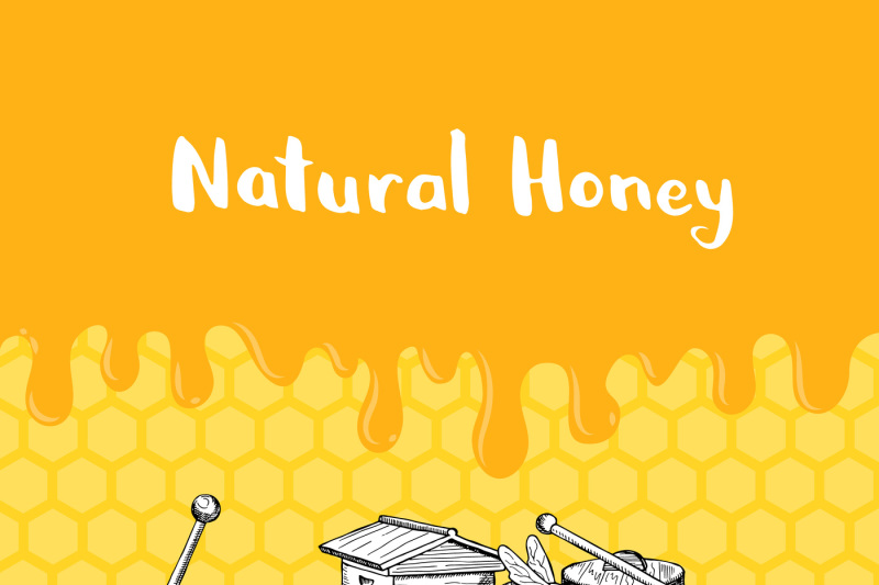 vector-illustration-with-honey-elements-dripping-honey-and-place-for