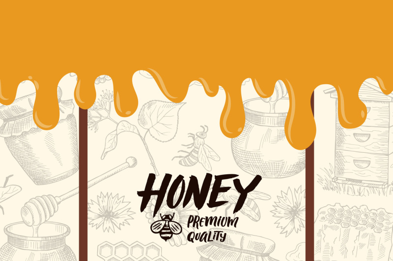 vector-background-with-sketched-honey-elements