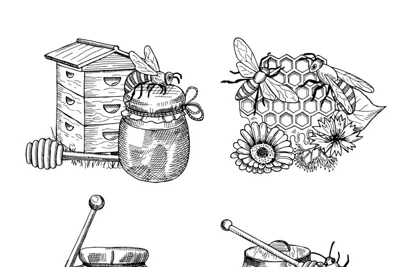 vector-piles-of-hand-drawn-honey-elements-set