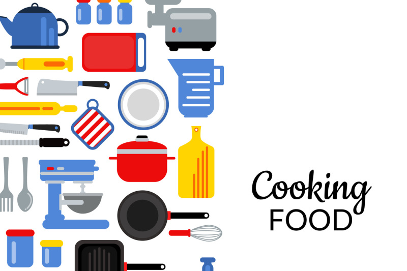 vector-flat-style-kitchen-utensils-background-illustration-with
