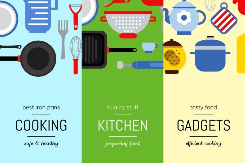 vector-flat-style-kitchen-utensils-vertical-web-banners-illustration