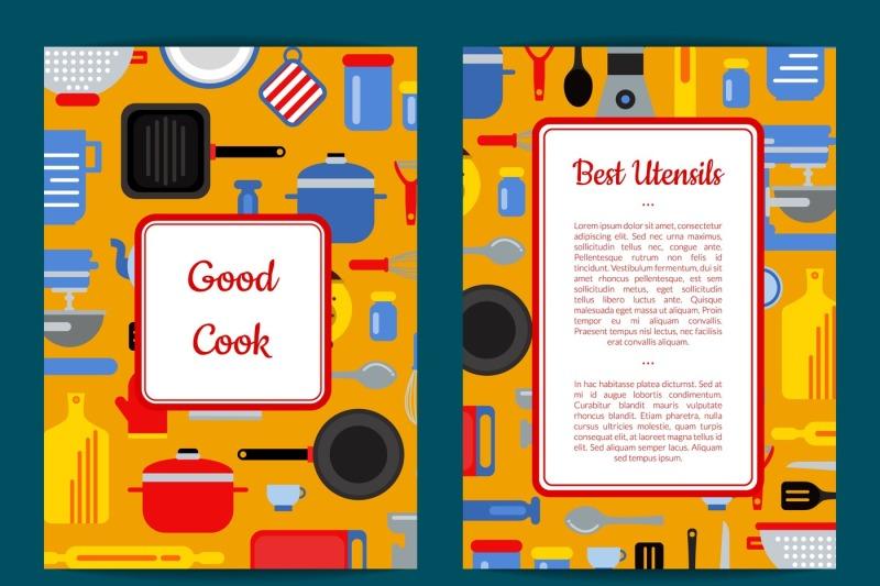 vector-flat-kitchen-utensils-card-flyer