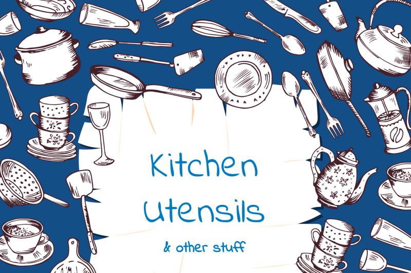 vector-background-with-kitchen-utensils-gathered-around-cartoon-paper