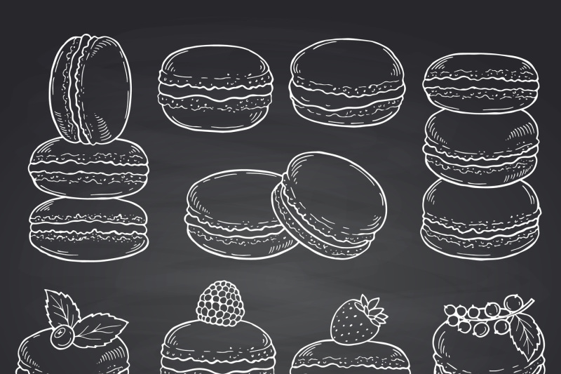 vector-set-of-hand-drawn-macaroons-on-chalkboard-illustration