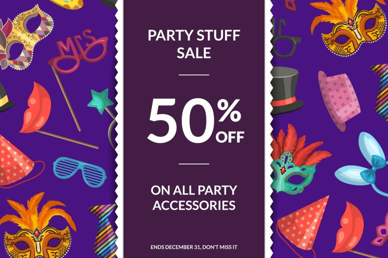 vector-sale-background-with-masks-and-party-accessories