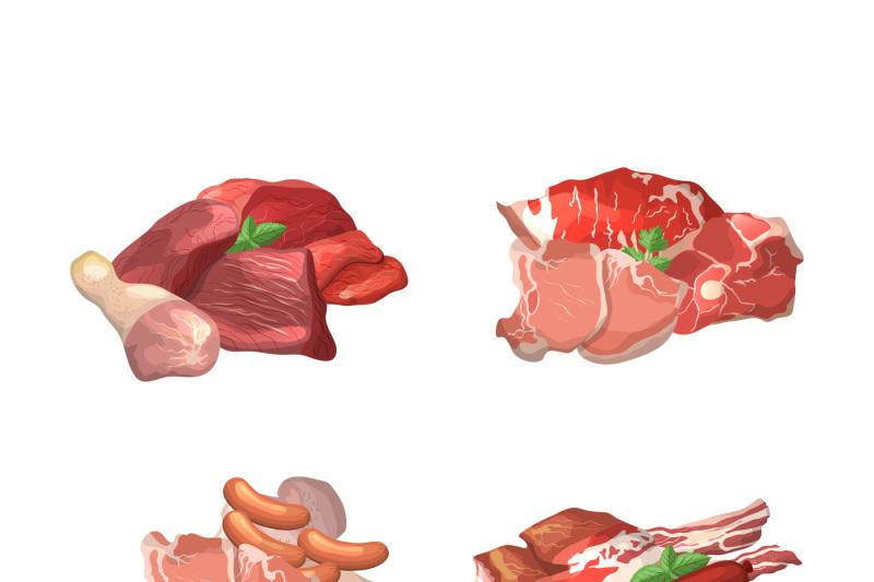vector-set-of-cartoon-meat-elements-piles-illustration