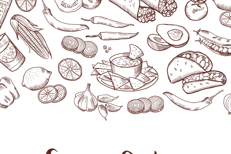 vector-sketched-mexican-food-elements-background