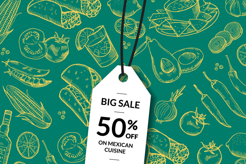vector-sale-tag-mexican-food