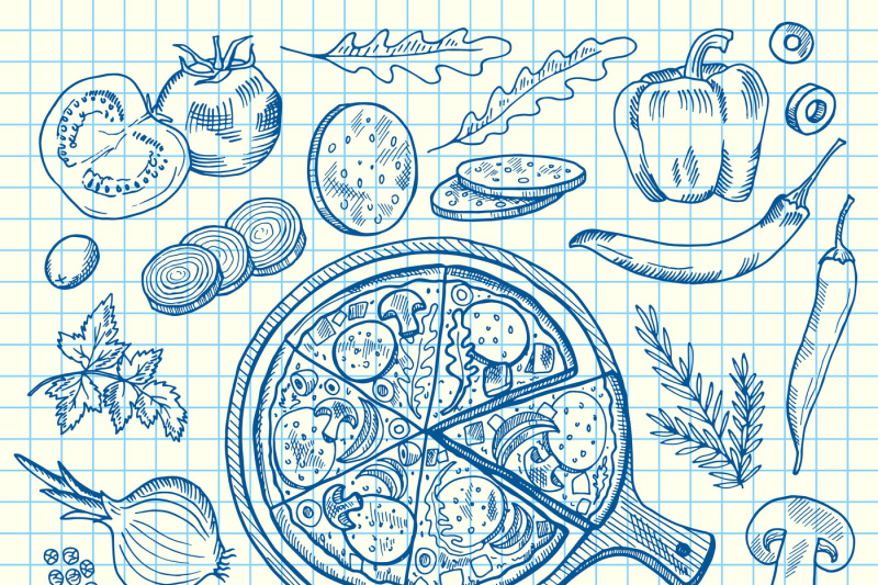 vector-sketched-contoured-italian-pizza-ingridients-on-notebook-cell-s