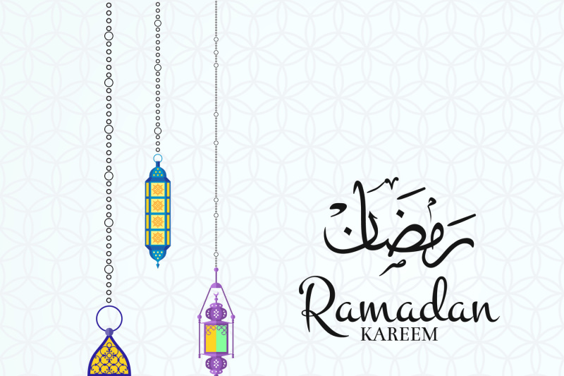 vector-ramadan-illustration-with-lanterns-and-place-for-text-on-arabic