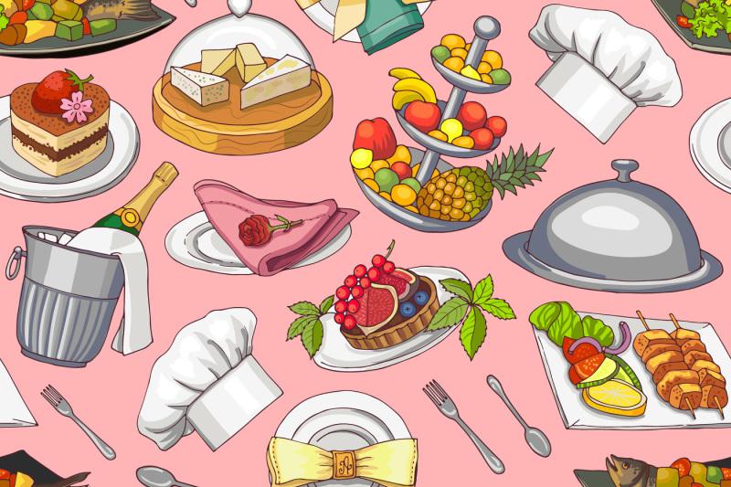 vector-hand-drawn-restaurant-or-room-service-elements-pattern-or-backg