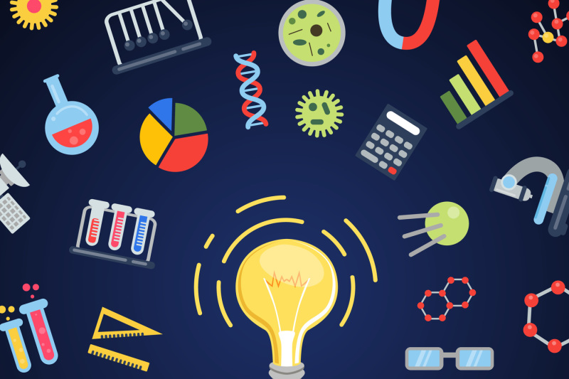 vector-flat-style-science-icons-lightbulb-concept