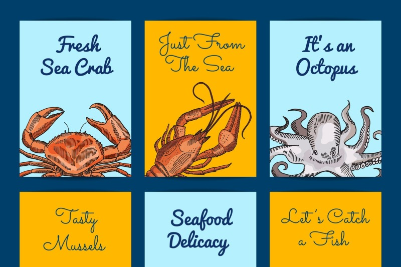 vector-card-or-flyer-templates-with-colored-hand-drawn-seafood
