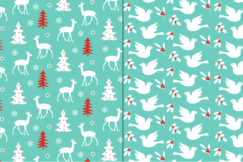 seamless-red-blue-christmas-patterns