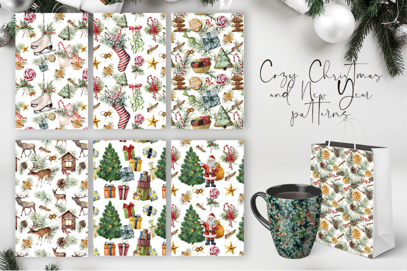elegant-christmas-patterns-watercolor-bundle