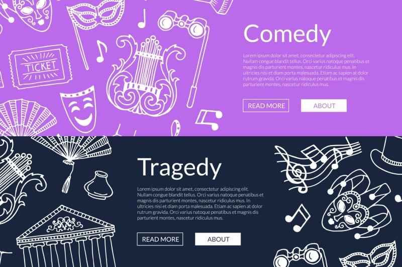 vector-doodle-theatre-elements-banners-illustration