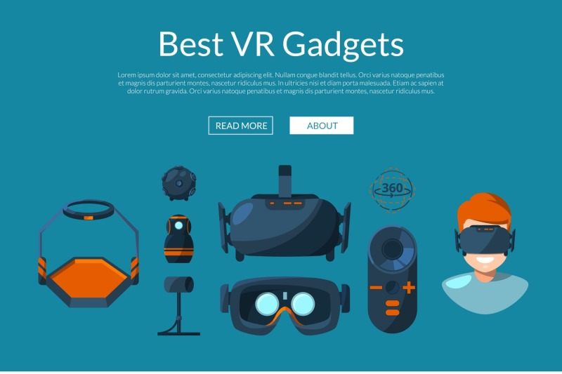 vector-website-page-template-with-flat-style-virtual-reality-elements