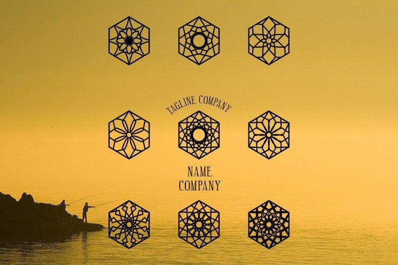 linear-ornamental-logo-templates-set