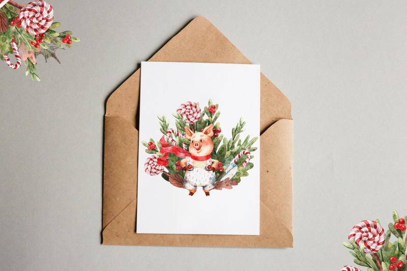 merry-pigs-watercolor-clip-art-set
