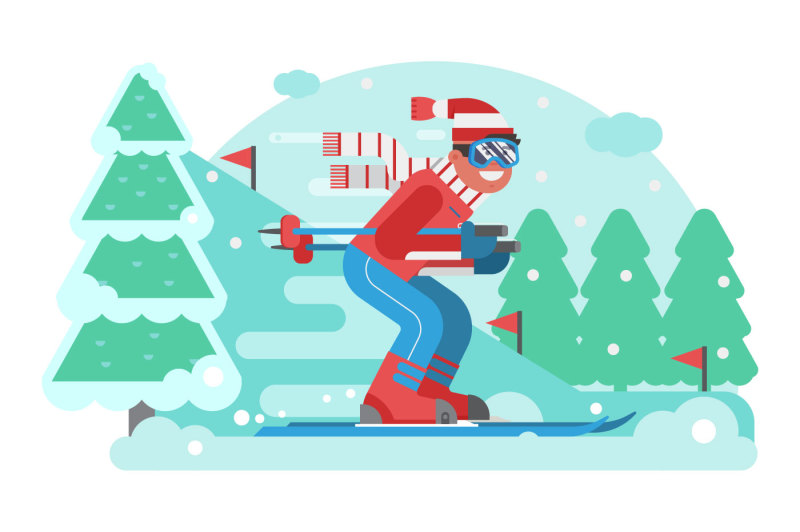 mountain-skiing-man-riding-on-winter-forest