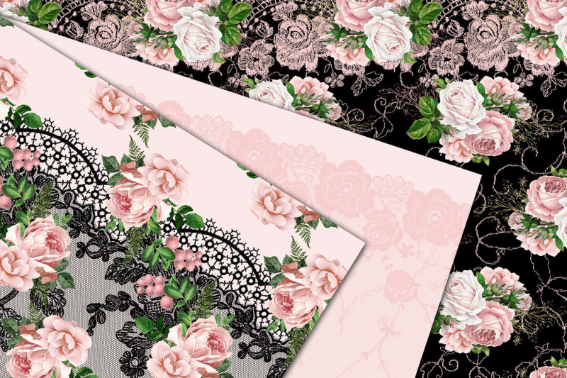 pink-floral-lace-digital-paper