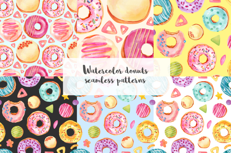 watercolor-donuts-illustrations-patterns-digital-paper