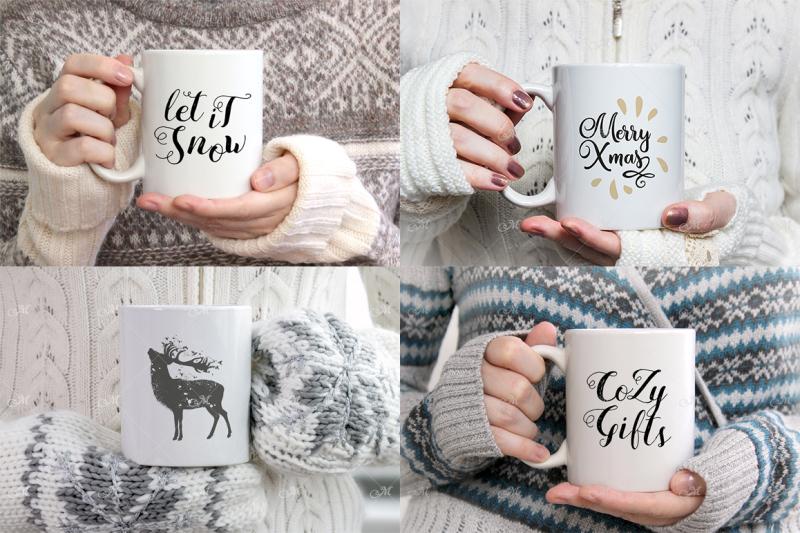 Free Winter Coffee Mug Mock-ups Bundle. PSD & JPG (PSD Mockups)