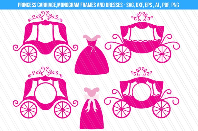 princess-carriage-cindrella-dress-svg-dxf-cut-files