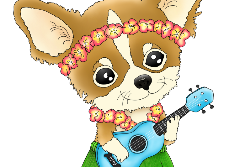 hawaiian-chihuahua-playing-a-ukulele-png-jpeg-clip-art-illustration
