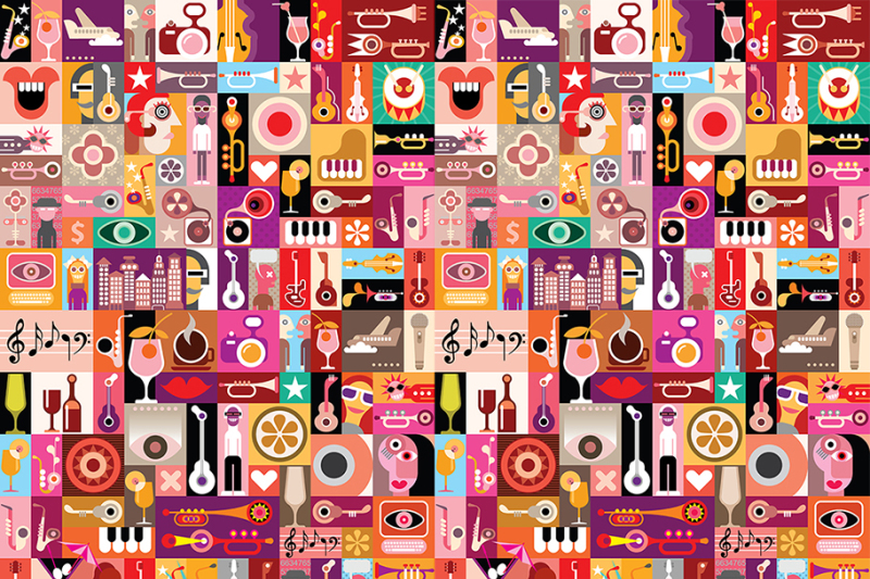 musical-pop-art-collage-vector-illustration
