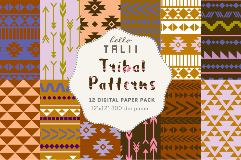 blue-tribal-digital-paper