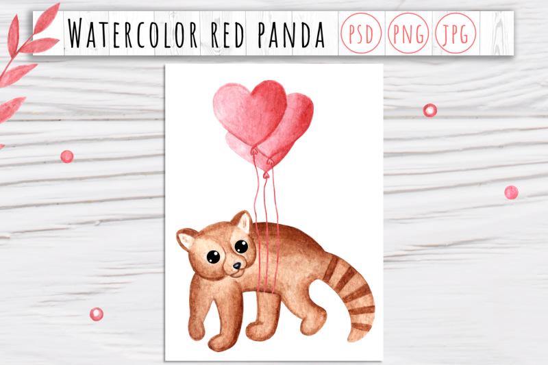 watercolor-valentine-red-panda