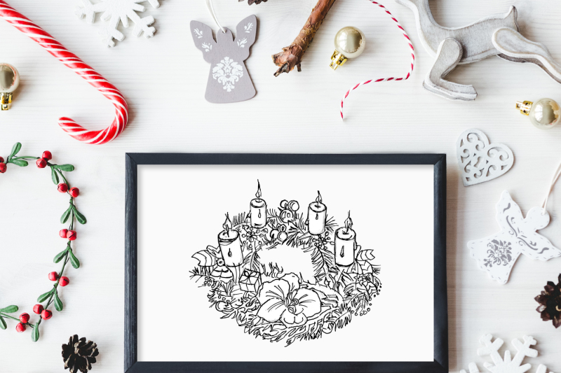 Christmas Wreath And Hot Chocolate Clipart By Girl In Design
