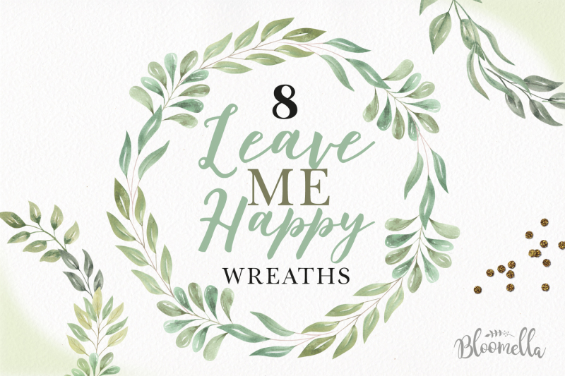 leave-me-happy-8-leaves-wreaths-borders-green-foliage-frames-clipart