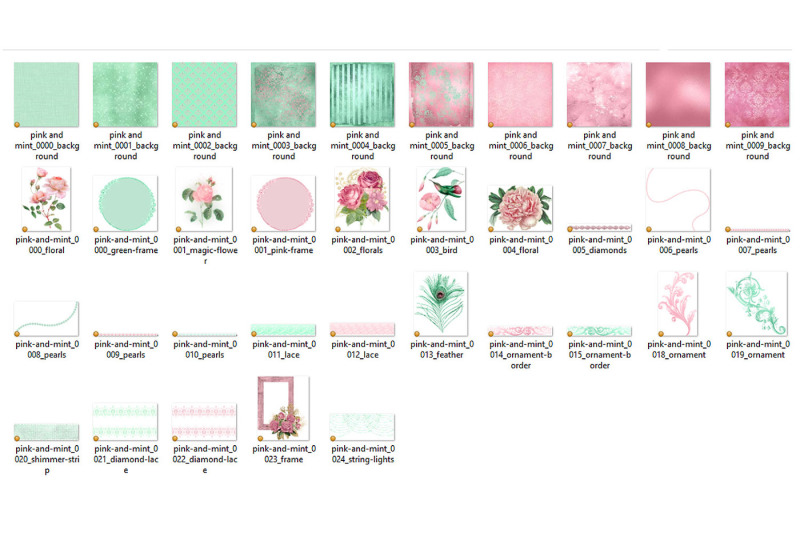 pink-and-mint-digital-scrapbook-kit