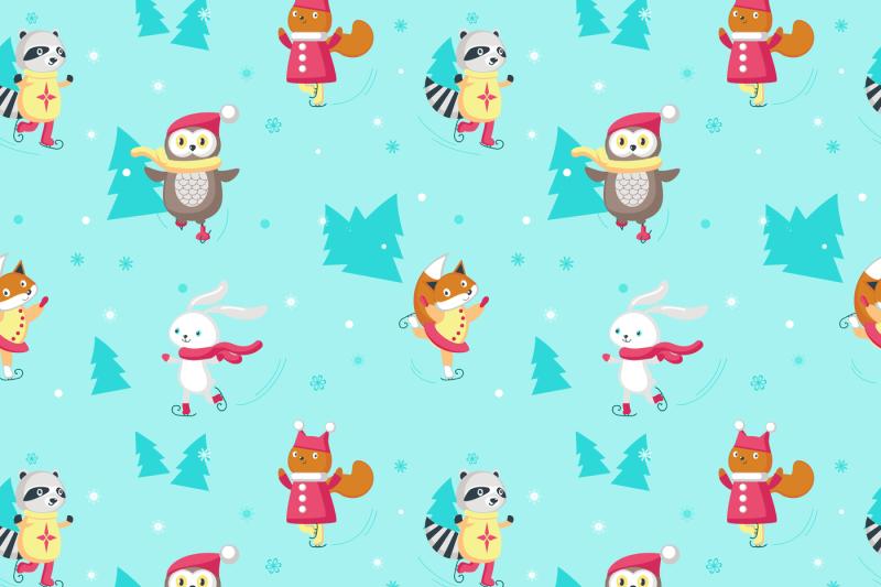 ice-skating-animals-clipart-set