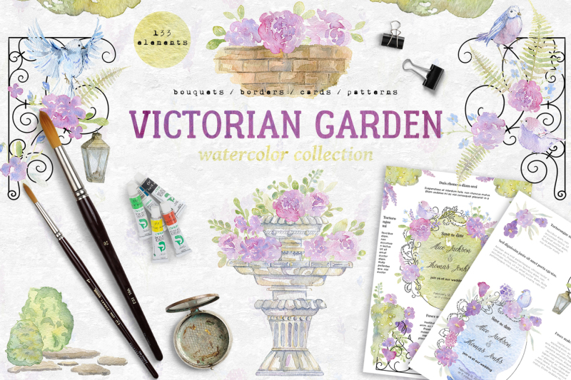 Watercolor victorian garden