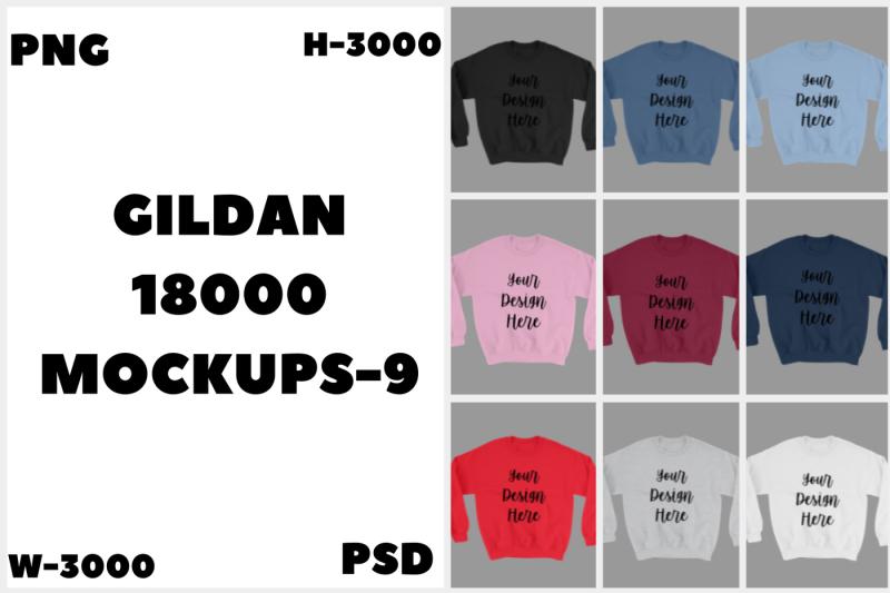 Free MEGA BUNDLE Gildan 18000 Unisex Mockups (PSD Mockups)