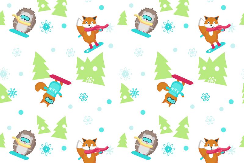 cute-snowboarding-animals-set