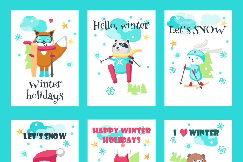 cute-animals-skiing-clipart-pack