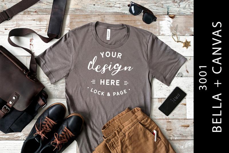 Free Male Asphalt Bella Canvas 3001 T-Shirt Mockup Flat Lay (PSD Mockups)