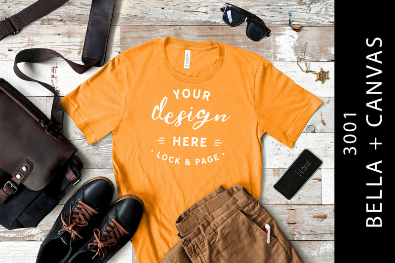 Free Burnt Orange Bella Canvas 3001 Male T-Shirt Mockup Masculine (PSD Mockups)