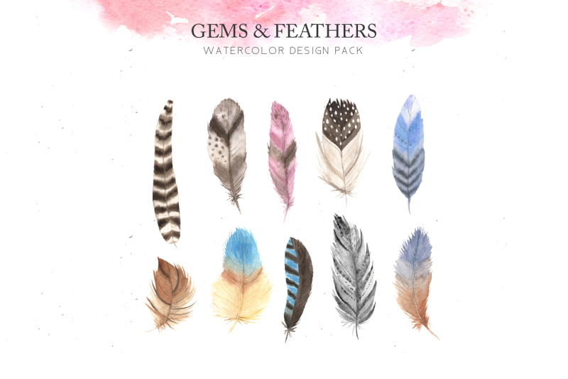 watercolor-gems-and-feathers-set