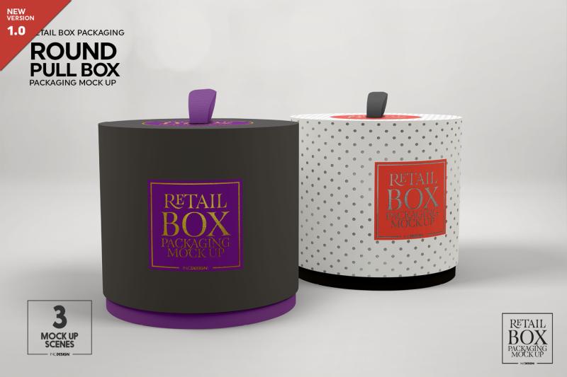 Free Round Pull Box Packaging Mockup (PSD Mockups)