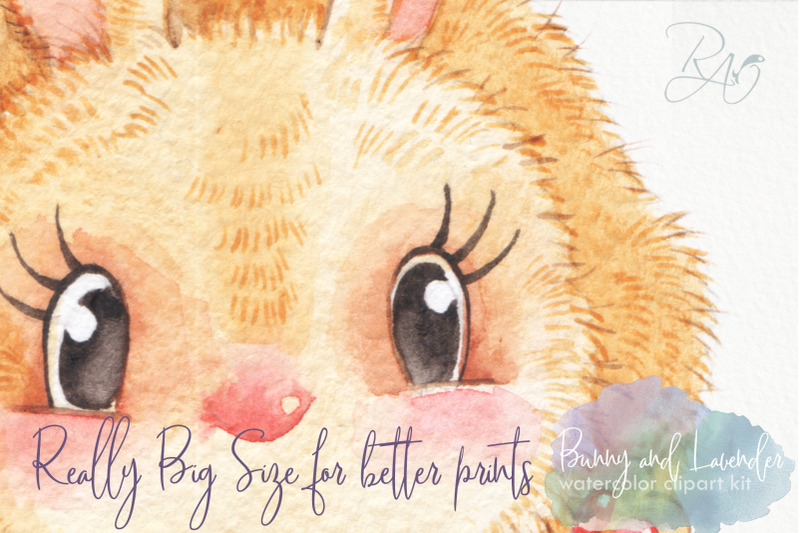 bunny-lavender-watercolor-clipart-kit